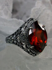 4ct Marquise *Red Garnet* Sterling Silver Art Deco Filigree Ring {Made To Order}
