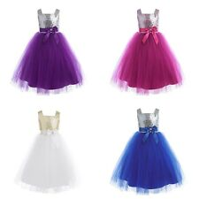 Flower Girl Sequins Tulle Sleeveless Party Wedding Pageant Bridesmaid Dress