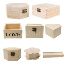Many Style Unfinished Wood Box Jewelry Gift Boxes for Kids Toys DIY Paint Craft