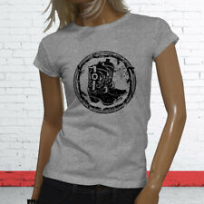 RODEO COWBOY BOOTS BLACK COUNTRY WESTERN COWGIRL Womens Gray T-Shirt