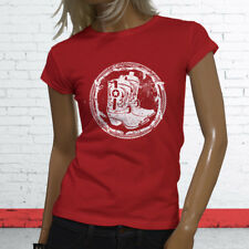 WESTERN COWBOY BOOTS RODEO COWGIRL COUNTRY HOWDY Womens Red T-Shirt