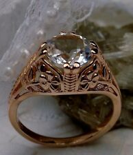 White Topaz 14K Rose Gold Edwardian/Deco Floral Filigree Ring (Made To Order)