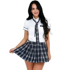 School Girl's Dress Short Sleeve Shirt with Plaid Skirt and Tie Set Cosplay 3Pcs