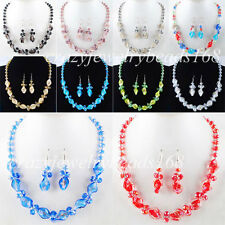New Fashion Crystal Faceted Lampwork Glass Beads Necklace Earrings Set BM045