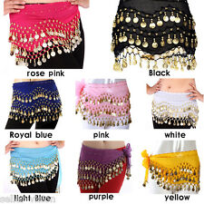 3 Rows Belly Dance Costume Hip Scarf Skirt Belt Gold Coin Dancer Dancing Wrap