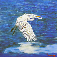 Jim Springett Original Casein Painting Egret Bird Fish Lake Wildlife Area Art