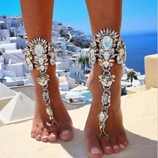 Fashion Beach Barefoot Sandal Anklet Silver Foot Chain Crystal Bracelets Jewelry