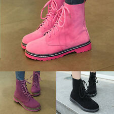Women New Trendy Suede Lace Up Boots Martin Mixs Color Sexy Women Shoes