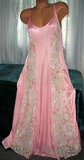 Coral Long Nightgown Floral Lace Panels 1X 2X 3X Plus Size Sheer