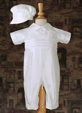 Baby Boys White Christening Suit Baptism Outfit Silk w/ Captains Hat 0-24M DP19