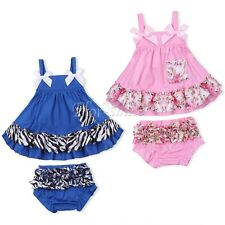 Newborn Infant Baby Girl Romper Jumpsuit Outfits Swing Tops with Bloomers Pants
