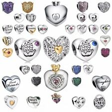 European heart 925 silver charms bead For PAN sterling bracelet necklace chains
