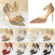 Women High Heels Shoes Bling Buckle Stilettos Pointed-toe Straps Pump Sandals