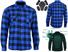 New Mens Cotton Flannel Lumberjack Shirt Lined with DuPont™ KEVLAR® ARAMID Blue