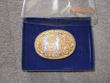 """CRUMRINE Silversmith RODEO COWBOY Letter """"S"""" Western Concho BELT BUCKLE Box USA"""