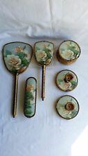 6 PIECE DRESSING TABLE VANITY SET, HAIR & CLOTHES BRUSHES, MIRROR TRINKET POT.