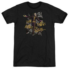 Arkham City Batman About To Begin Mens Adult Heather Ringer Shirt Black