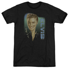 Elvis Presley Elvis Presley 56 Mens Adult Heather Ringer Shirt Black