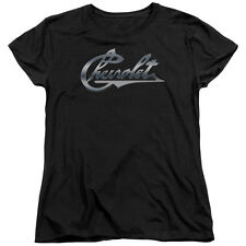 Chevy Chrome Vintage Chevy Bowtie Womens Short Sleeve Shirt Black