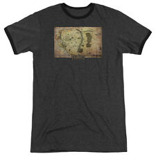 The Hobbit Middle Earth Map Mens Adult Heather Ringer Shirt Charcoal