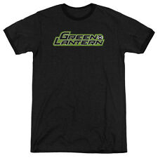 Green Lantern Scribble Title Mens Adult Heather Ringer Shirt Black