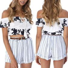 Sexy Summer Women Off Shoulder Bandage Floral Crop Top Cotton Shirt Blouse R2P3