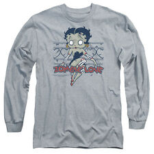 Betty Boop Zombie Pinup Mens Long Sleeve Shirt Athletic Heather