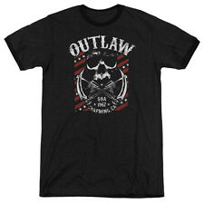 Sons Of Anarchy Outlaw Mens Adult Heather Ringer Shirt Black