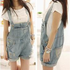 Womens Washed Denim Ripped Hole Jumpsuit Romper Overalls Short Pants 2017 Casual