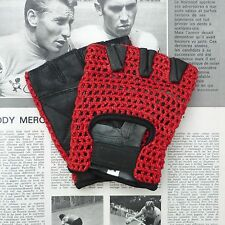 Vintage Style, Soft, Black, Leather Cycling Gloves, Mitts with Red Crochet Back