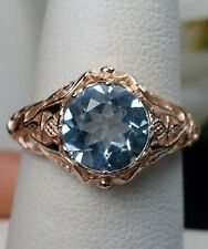1.8ct Natural Blue Topaz 10K Rose Gold Daisy Filigree Ring Size {Made To Order}