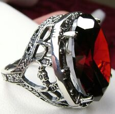 24ct Huge *Red Garnet* Sterling Silver Victorian Filigree Ring (MTO) Size Any