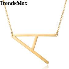 Womens Chain Ladies Pendant Necklace Gold Stainless Steel Initial Letter A-Z