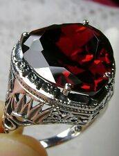10ct *Garnet* Sterling Silver Art Deco Heart Filigree Ring Size: (Made To Order)