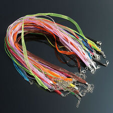 Adjustable Mixed Organza Waxen Ribbon Chains Necklace Cord with Lobster Clasp
