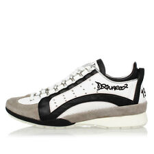 DSQUARED2 Dsquared² New Woman Black White Leather Shoes Sneakers made Italy
