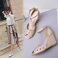 New Fashion Womens Summer Casual Wedge Heels Open Toe Strap Buckle Sandals Shoes