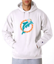 Miami Dolphins Throwback Champion Hoodie Pullover Sweatshirt Sweater Mens NEW