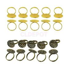 10Pcs Adjustable Brass Rings 20mm Blank Base Pad Jewellery Making DIY Craft