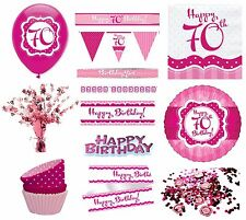 PERFECTLY PINK Girl Age 70 Happy 70th Birthday PARTY ITEMS Decorations Tableware