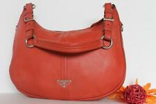 $1298~PRADA~Vitello Daino~Burnt Orange Red Pebbled LEATHER HOBO Bag~PURSE RARE