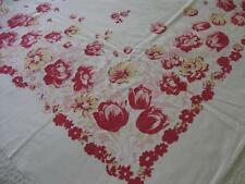 Vintage Antique 1940/50s Roses-Tulips-Other Flowers Print-More-Tablecloth-45x50