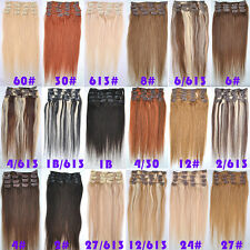 70g 80g 100g 120g Real Human Clip In Hair Extensions Hairpiece 15''-28'' Lot