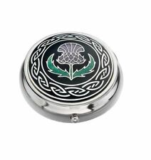 Sea Gems Gift Boxed Enamelled Scotland Thistle Silver Plated Pillbox