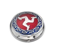 Sea Gems Gift Boxed Enamelled Isle of Man Silver Plated Pillbox