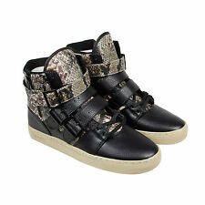 Radii FM1037 Mens Black Leather High Top Strap Sneakers Shoes