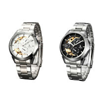 IK Colouring Automatic Mechanical Watch Skeleton Stainless Steel Wristwatch