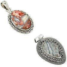 Jewelexi mexican laguna lace agate 925 sterling silver pendant 6564A