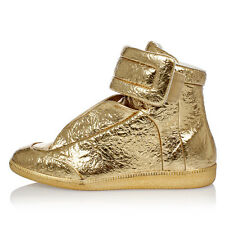 MAISON MARTIN MARGIELA New Men Gold Tone Leather Sneakers shoes MAde Italy
