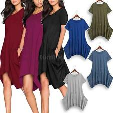 Women Summer Casual Loose Cotton Dress Oversized Soft Short Sleeves Dress M6Y6